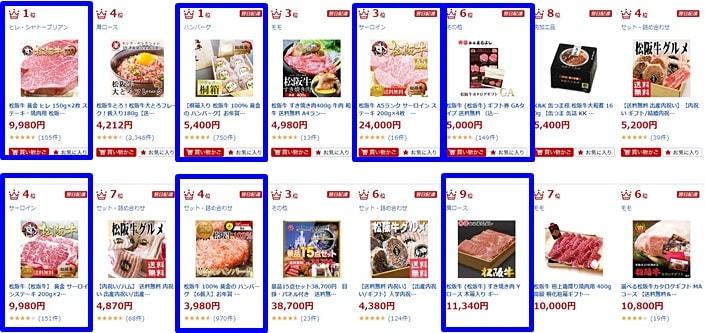 松阪牛の楽天ランキング検索結果2